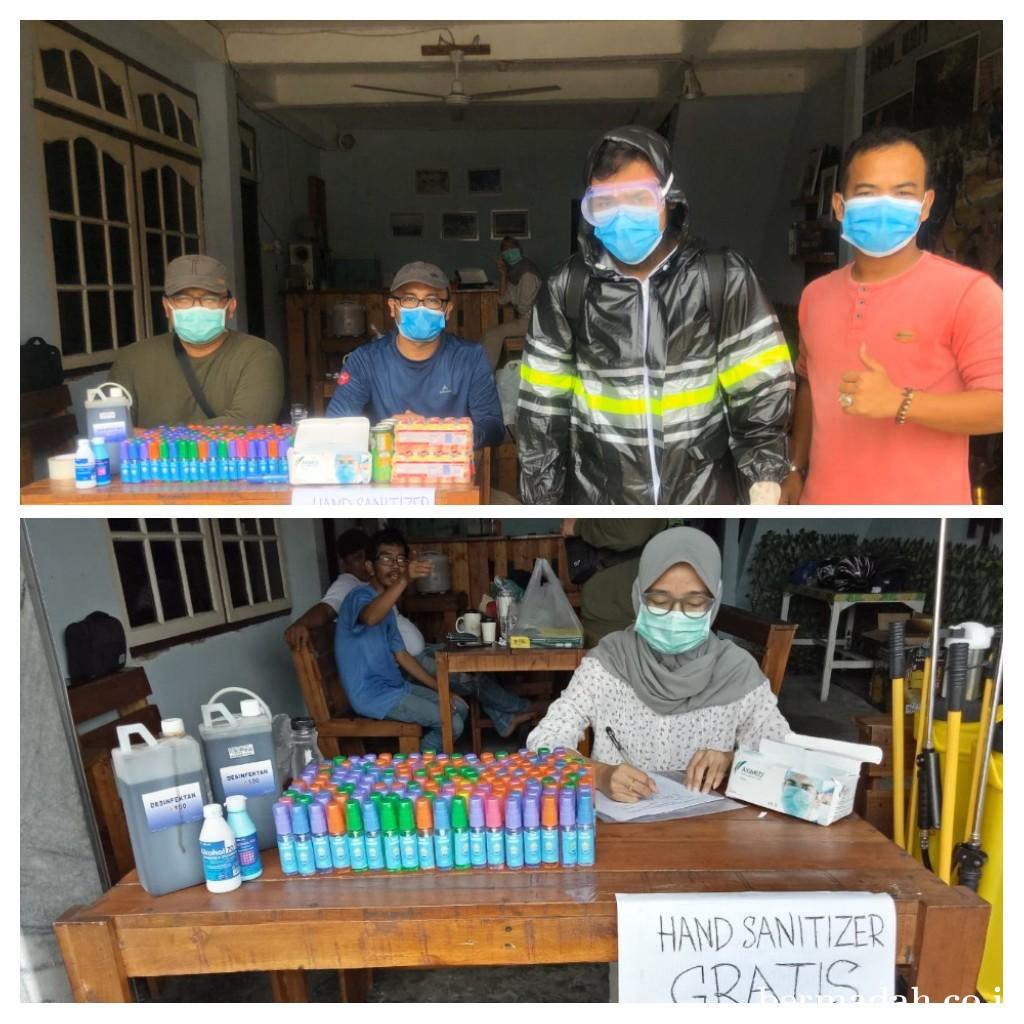 KBIP UNRI Lakukan Penyemprotan Disinfektan dan Bagikan Hand Sanitizer